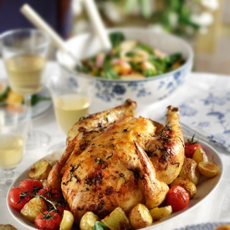 Κοτόπουλο μουσταρδάτο στο φούρνο με πατάτες και ντοματίνια #allazoumesinithies | ΑΒ Βασιλόπουλος