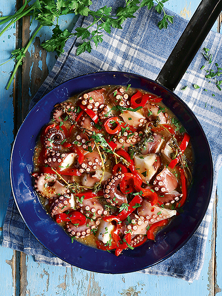 Χταπόδι με πιπεριά Φλωρίνης και σάλτσα μουστάρδας #allazoumesinithies | ΑΒ Βασιλόπουλος