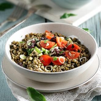 Φακές σαλάτα με ντοματίνια